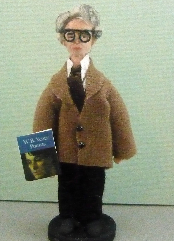 William Butler Yeats Art Doll Miniature Author Writer Art Collectible