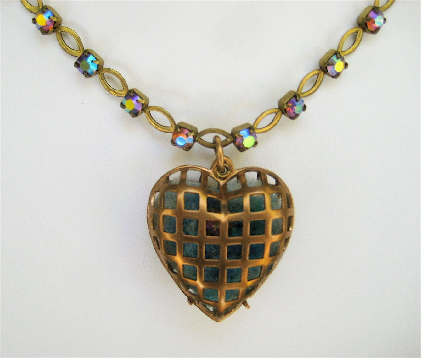 Brass Heart Necklace Cage Heart with Aqua Needle Felt Heart on Vintage ABAqua Rhinestone Chain Choker Length Lots of Sparkle - CatchingWaves