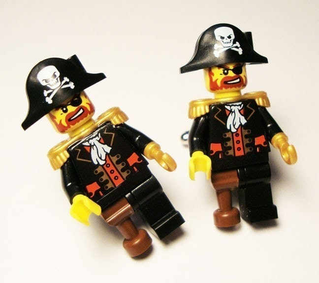 Full body Pirate LEGO silver toned cufflinks in FREE gift box