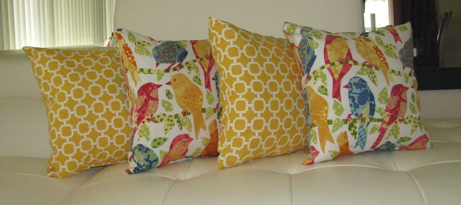 Yellow Bird Throw Pillows : Yellow & Bird Outdoor Throw Pillow Ash by LandofPillowsDotCom