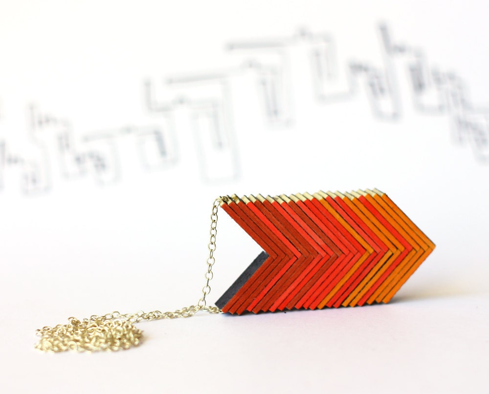 Ombre arrows necklace - red orange necklace, warm shadows - cartonBois