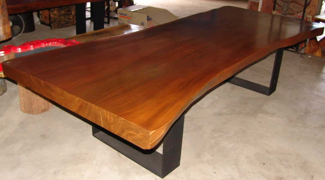 Dining table reclaimed solid slab acacia wood 10 seater by for 10 seater solid oak dining table