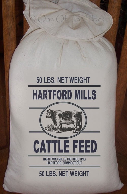 Primitive Feed Sack Hartford Mills Cattle Feed By