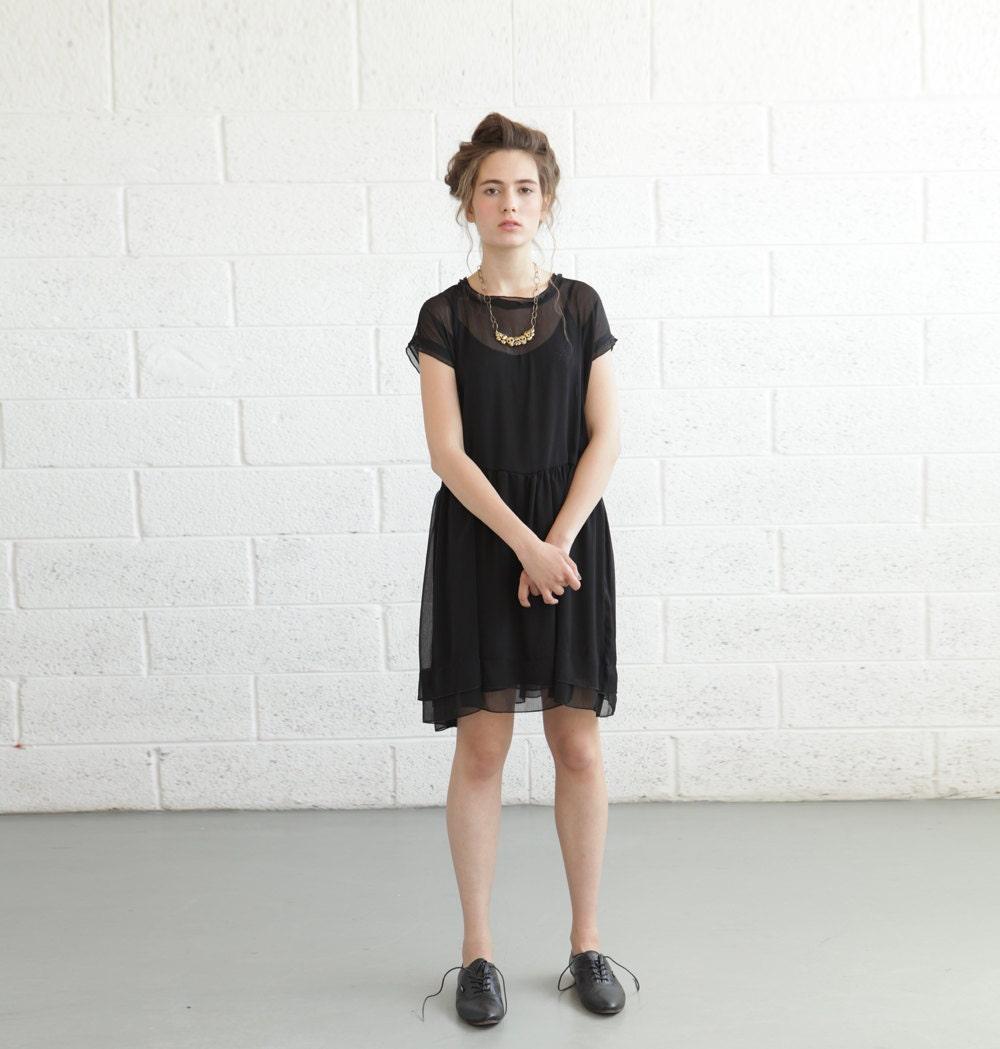 Sheer Cocktail Dress - Black - naftul