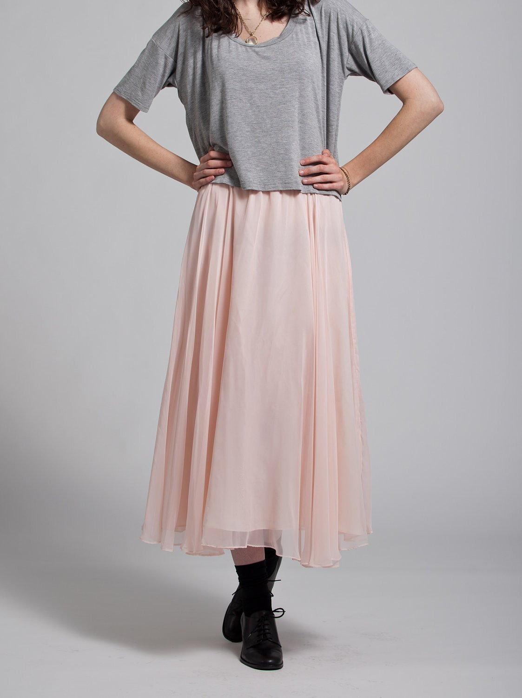 vtg pale pink chiffon maxi skirt sml by prelovedapparel on
