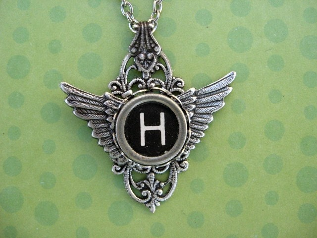 letter h vintage typewriter key pendant necklace