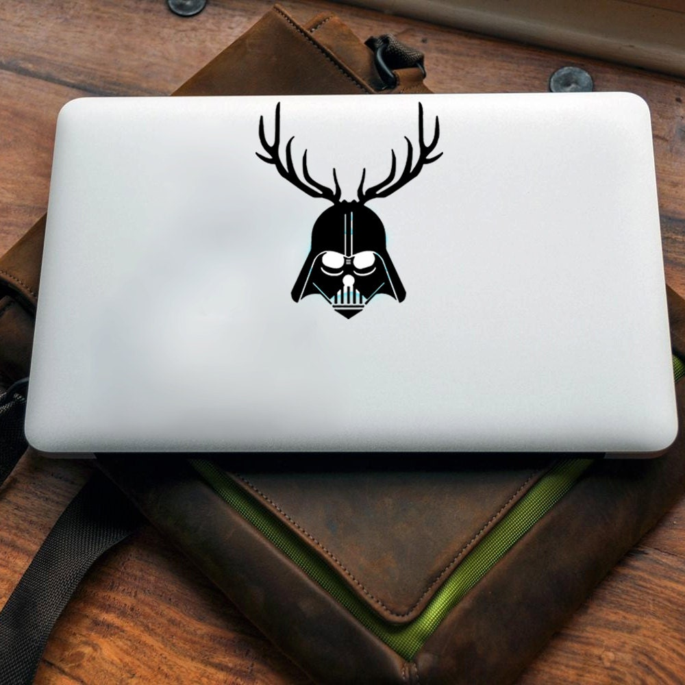 Darth Reindeer Vinyl decal for MAC or PC sticker print perfect gift for any computer fan! Merry Christmas Gift Xmas Hat Apple (VS202)