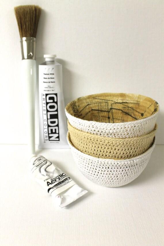 CREAM Crochet Bowl Sculpture Harvest Honey and White Decorative Showpiece
