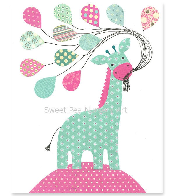 Aqua and Pink Nursery,Giraffe Nursery, Balloons, Girls Room, Aqua Giraffe, 8 x 10 Print, cute nursery art - SweetPeaNurseryArt