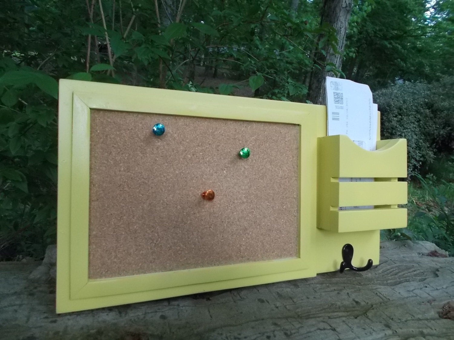 Message board mail holder with cork board by for Wall mail organizer with cork board