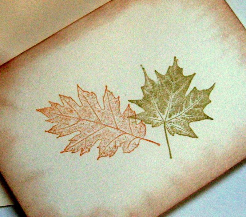 rustic autumn card, envelope, fall leaves, set 4 cards & 4 envelopes - 0namesleft