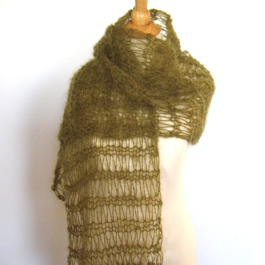 Olive Green Mohair Knit Shawl Wrap Stole -  Luxury Fiber Gift