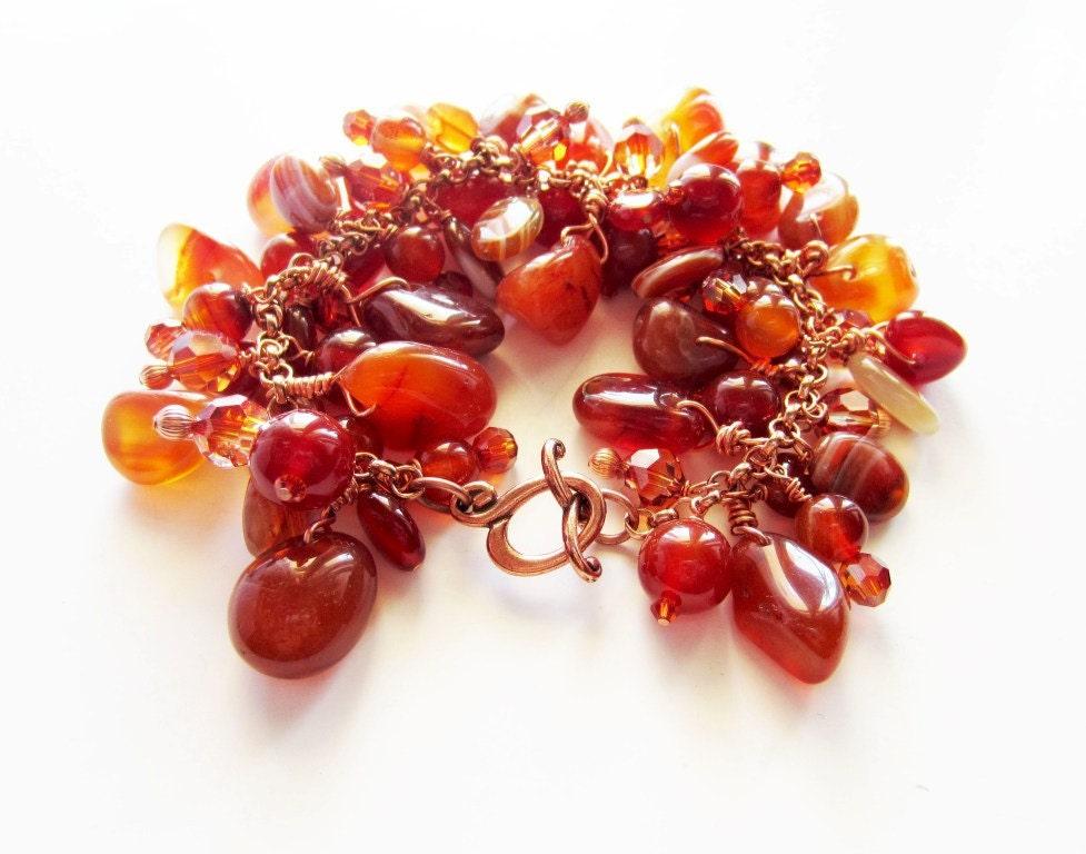 Caramel brown carnelian bracelet.  In copper.  Autumn bracelet. - LittleBearsMom