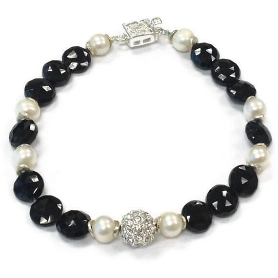 black spinel bracelet sterling silver jewelry by