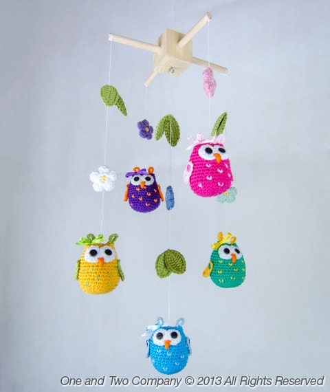 Crochet Baby Mobile Patterns : Owls and Flowers Mobile PDF Crochet Pattern by ...