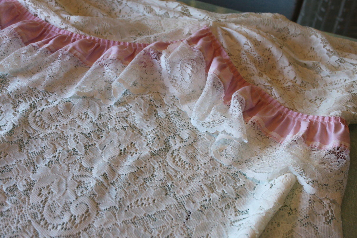 Sweet Vintage JC Pennys lace shower curtain by SpeckledChicken