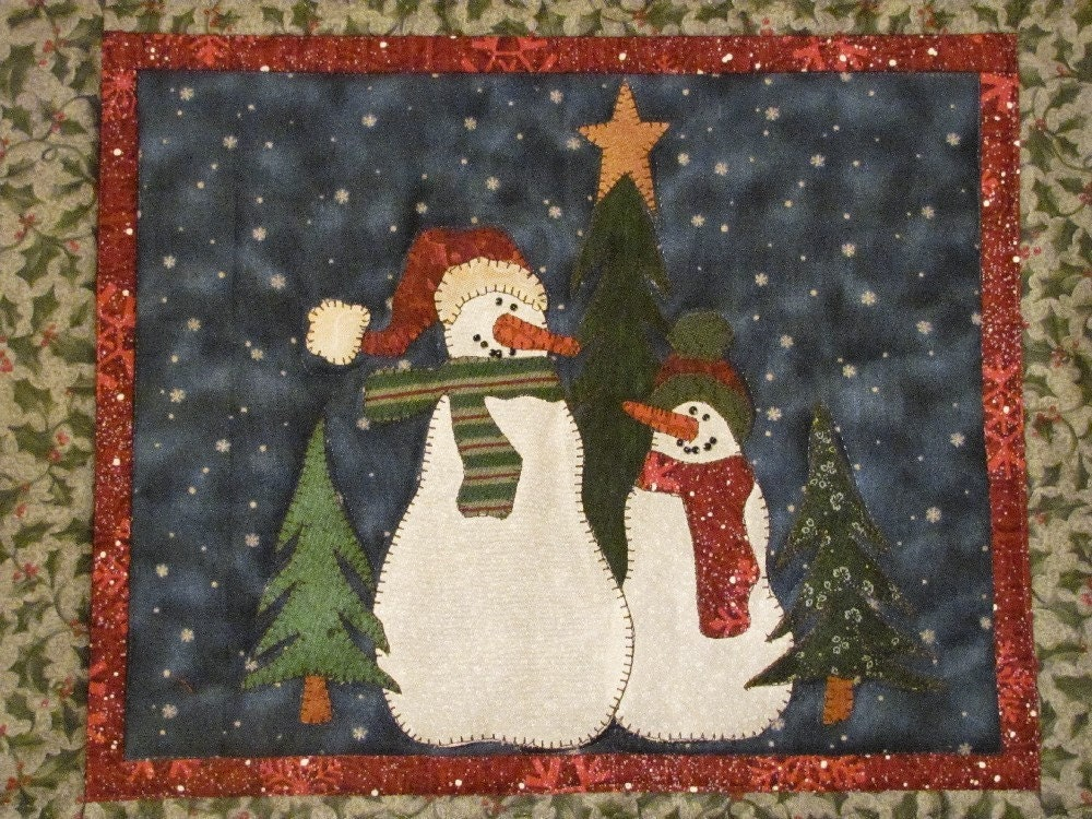 Quilt Patterns For Table Runners And Placemats : Snowman Buddies Table Runner and Placemats by quiltdoodledesigns