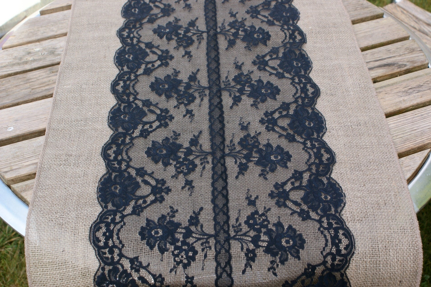 Custom made wide wedding table runner black by littlewhiteboutique
