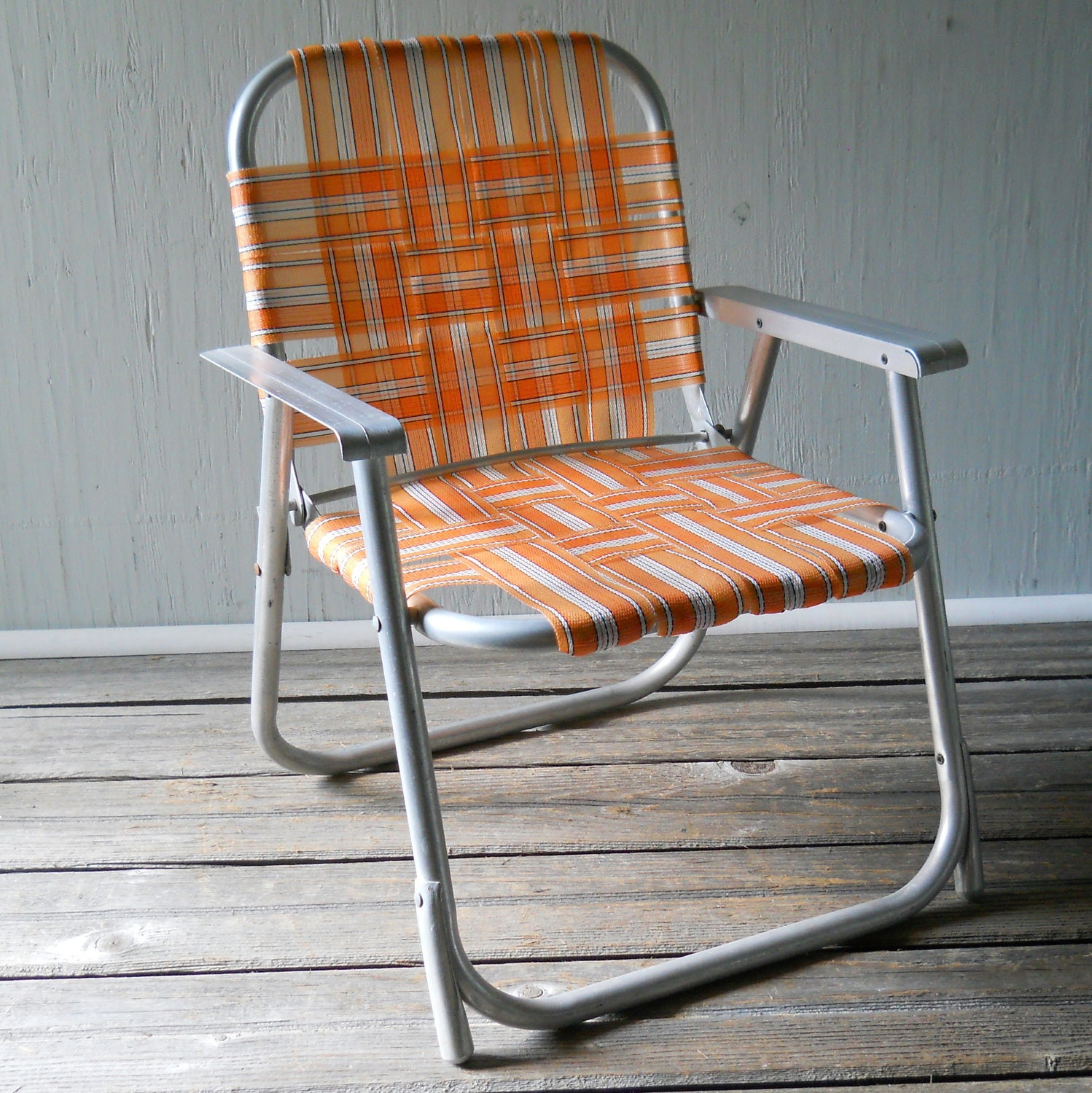 Vintage Folding Lawn Chair Child s Aluminum by lisabretrostyle2