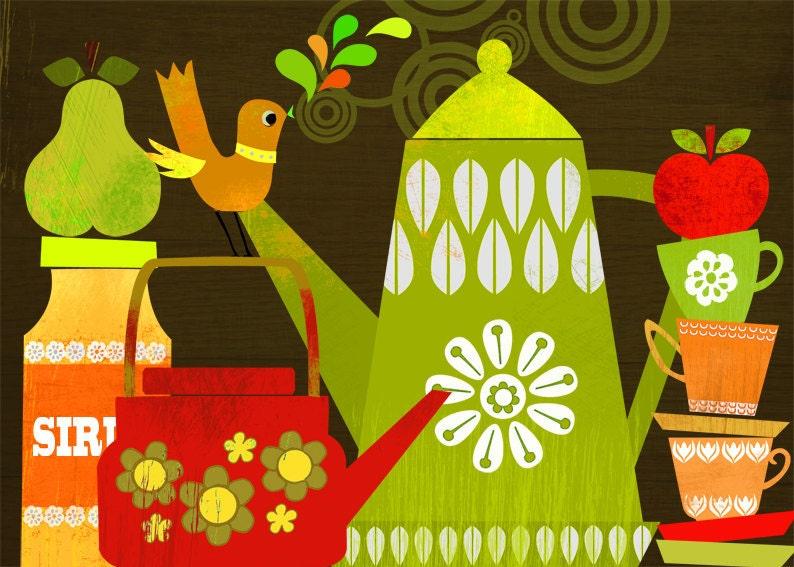 Retro kitchen illustration art print by sevenstar on etsy for Kitchen artwork