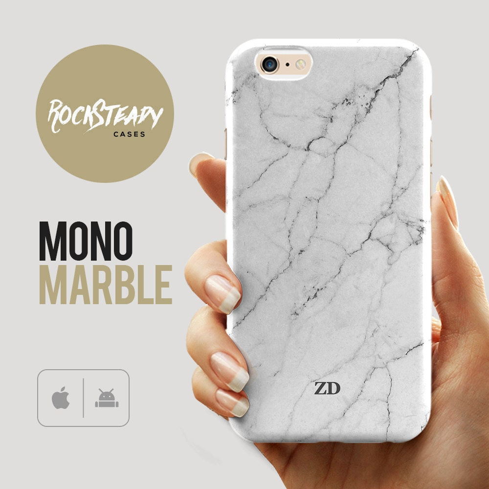 Monogram Marble iPhone 7 6s case custom personalized Name Samsung Galaxy S6 S7 S5 S4 phone case iPhone 6 Plus 5C 5S SE case White