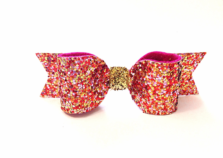 Pink Confetti Glitter Hair Bow. Pink Glitter hair clip / Sparkly hair clip / Meghan and Julie - MeghanandJulie