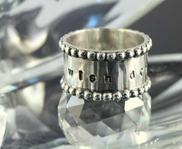 Artisan sterling silver ring personalised as you wish......Wish, Dream, Believe in Love....Mother's Day, Graduation, Spring - 11thHouse