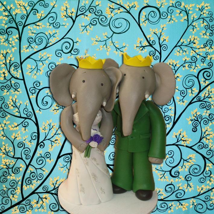 Custom Made Elephant Wedding Cake Topper
