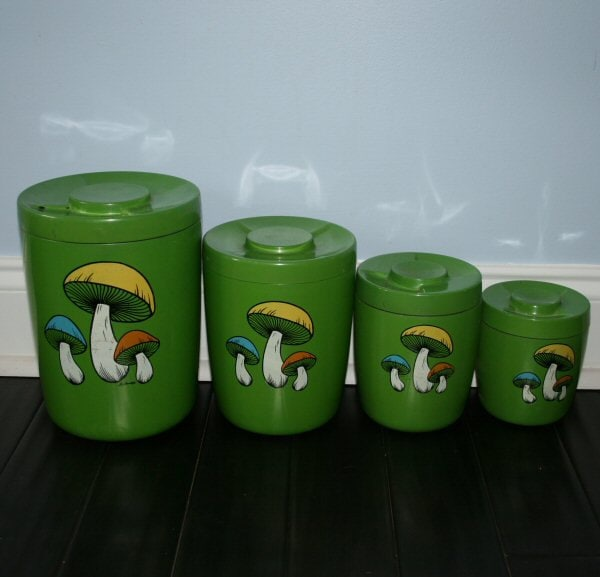 Green Kitchen Canisters: Items Similar To 60s Green Mushroom Kitchen Canister Set