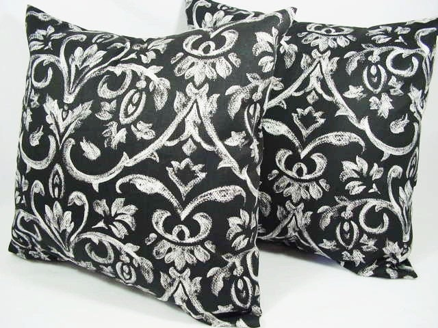 Black And White Patterned Throw Pillows : Items similar to Two Damask Throw Pillows in Black and White - 16 x 16 inches Decorative Throw ...