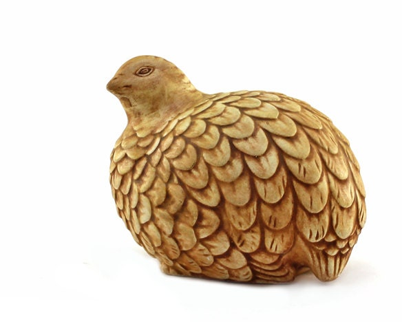 Quail Figurine: Ceramic Pheasant, Partridge, Bird - Handmade, Folk Art, Farmhouse, Woodland Animal - Tan, Taupe, Beige, Brown, Autumn, Fall - TimelessFindsVintage