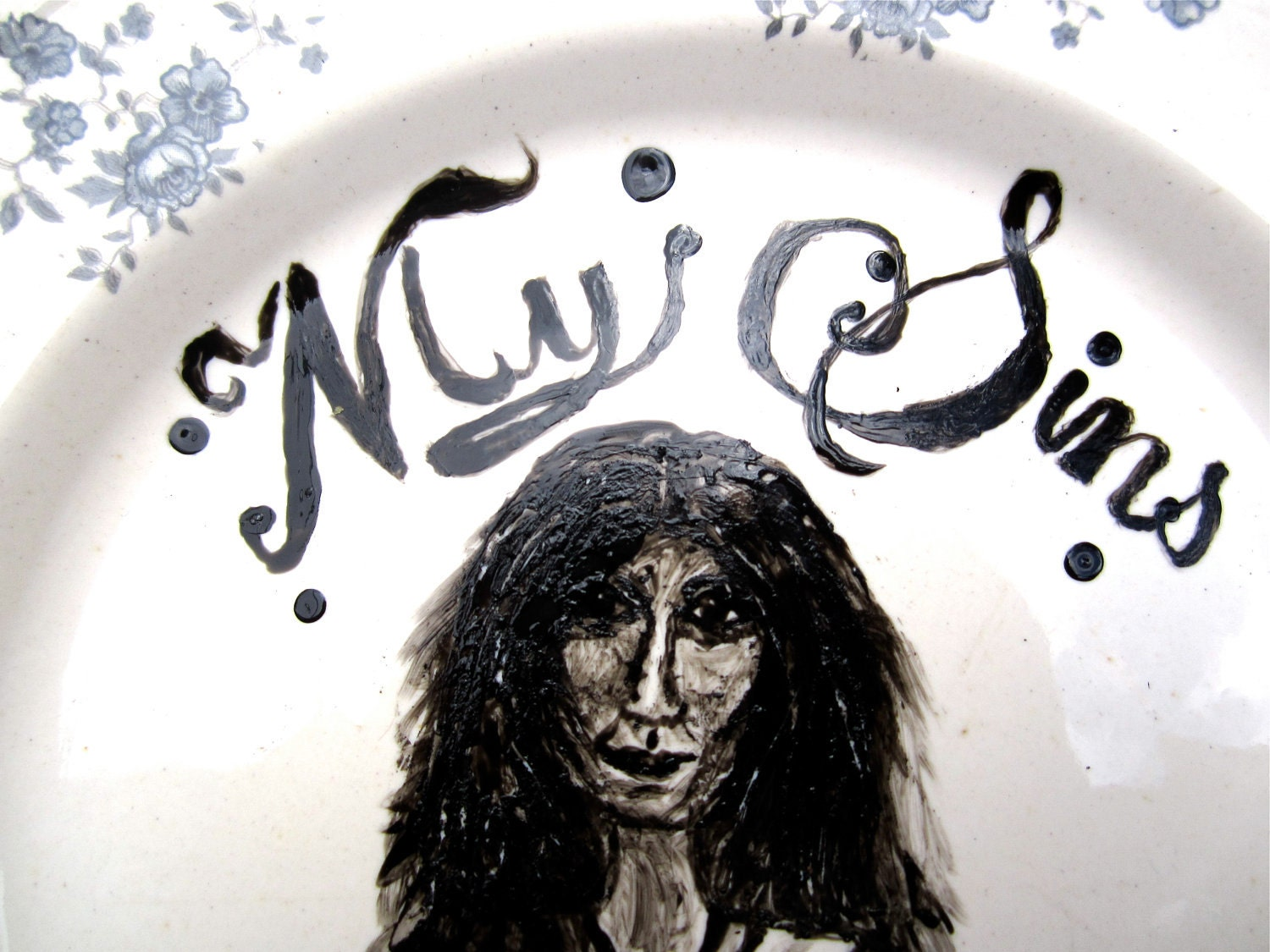 PATTI SMITH punk rock portrait on Porcelain. Hand Painted portrait. Unique punk Home Decor. Feminist. Subversive Ceramics. OOAK