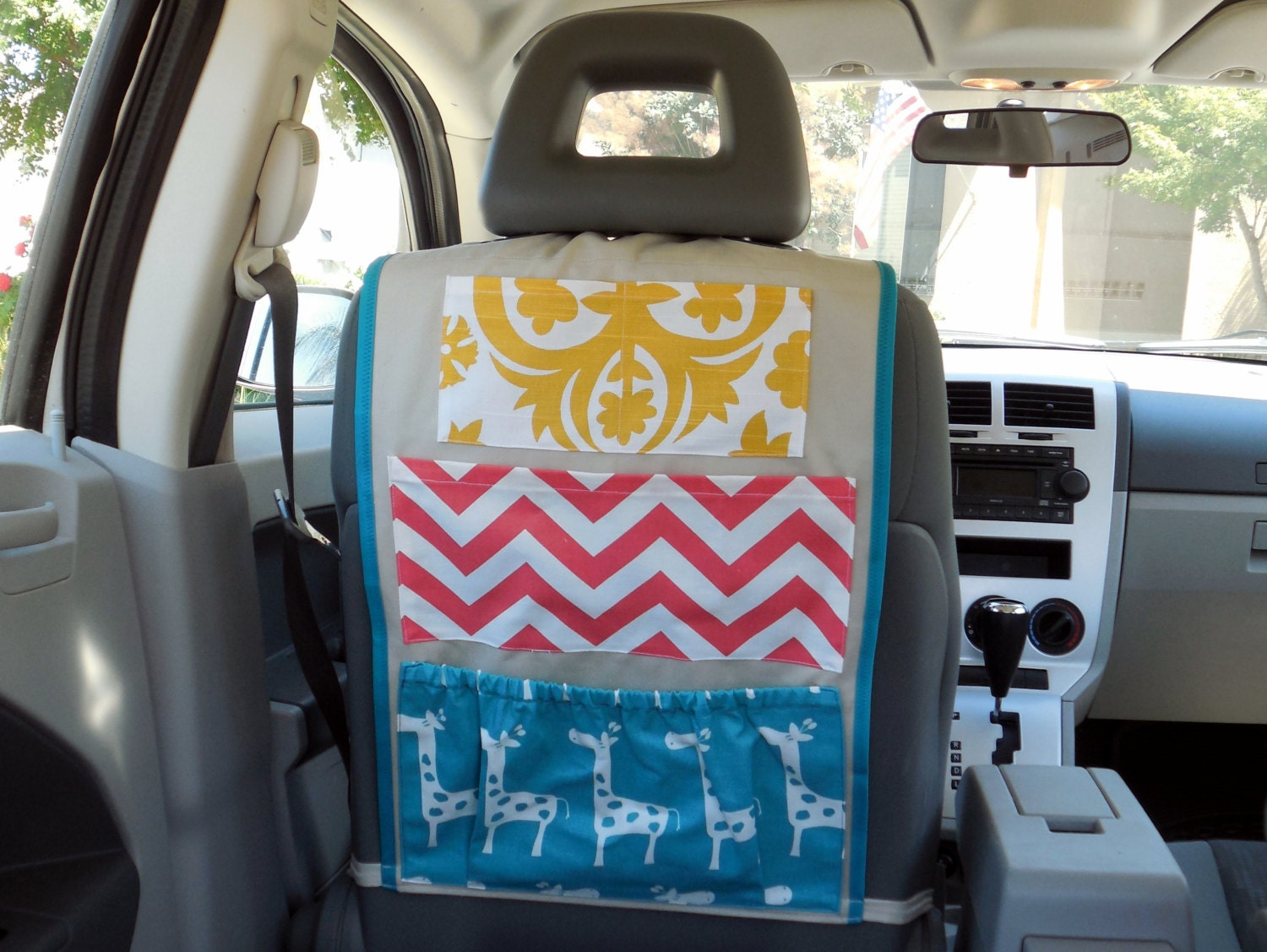 Giraffe Car Organizer- Yellow, Coral, and Turquoise