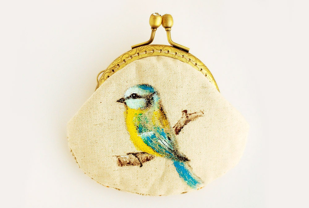 Blue Tit Hand painted Vintage Purse (My Secret Garden) - lazydoll