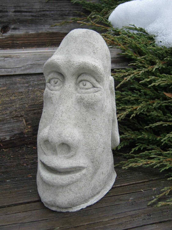 moai head statue concrete easter island tiki by. Black Bedroom Furniture Sets. Home Design Ideas