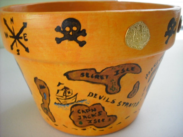 PIRATE TREASURE MAP Themed  Pot - Great for Holiday/Birthday Parties - Embellished with Real Metal Replica Coins - Treasury Item