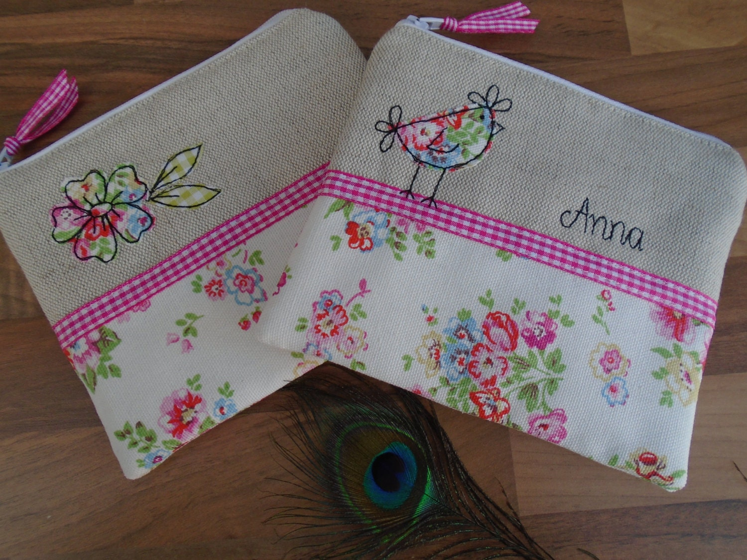 Handmade Small Cosmetic Makeup Bag or Purse with option to personalise Choice of Hen or Flower Applique Cath Kidston White Floral fabric