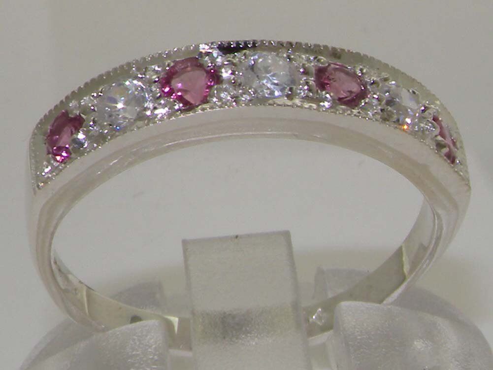 Solid 14K White Gold Genuine 0.18ct Diamond  Pink Tourmaline Ring  Classic 7 Stone Half Eternity Ring Anniversary Ring  Customizable