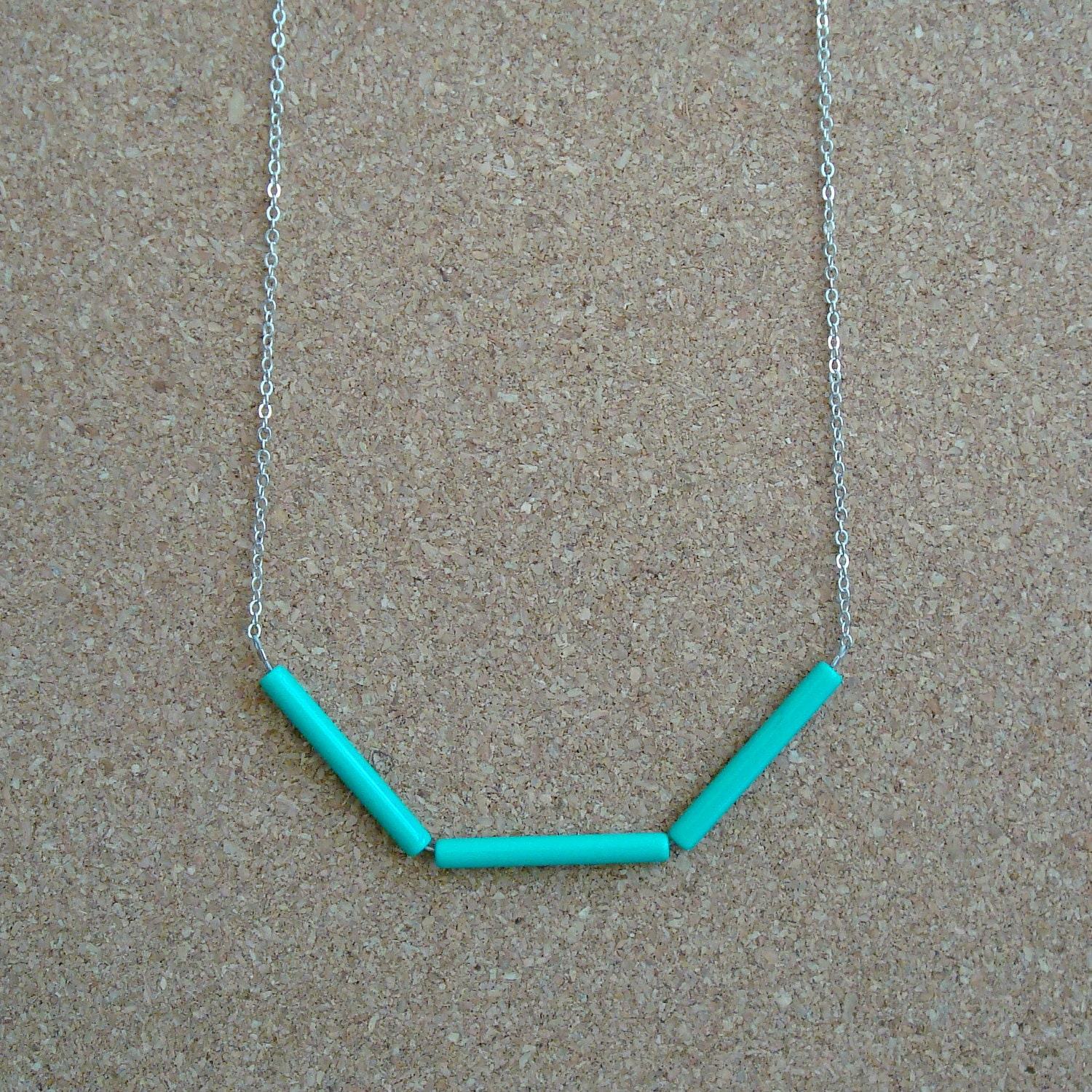 "Silver Plated Chain Necklace w/ Vintage Turquoise Green Acrylic Tube Beads (26"")"