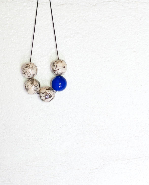 Comic necklace - decoupage necklace. cobalt blue. Hand painted and handmade beads. - SofiaSobeideJewelry