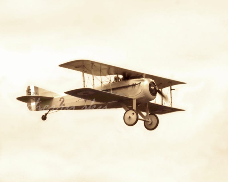 Dreams of Flight - Adventure Travel History Boys Room Sepia Vintage Antique WWI Airplane Plane Fly Away 8x10 Fine Art Photograph - cherryskyphoto