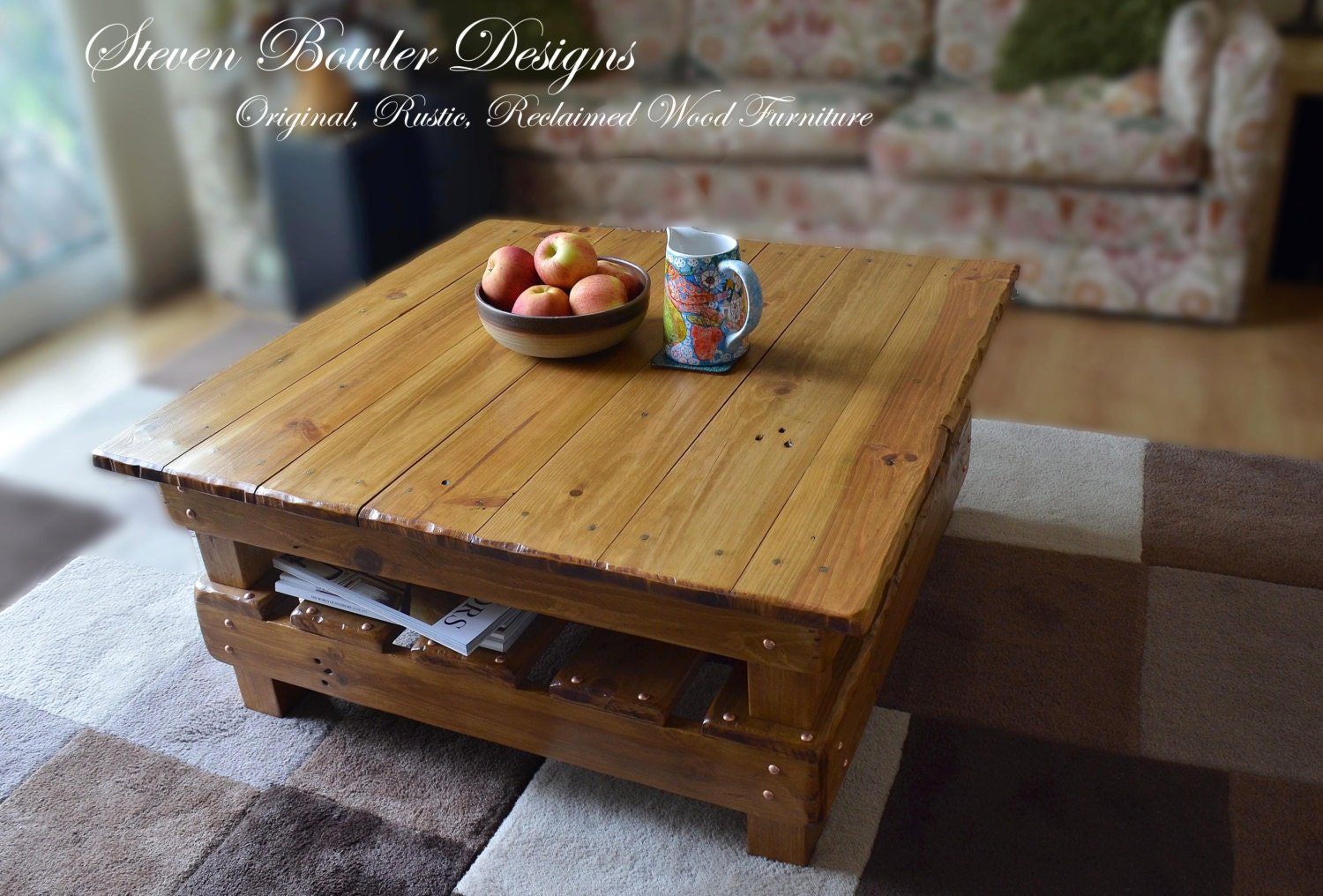 Handcrafted to Order Square Rustic Reclaimed Wood Coffee Table in Warm Light Oak Stain  Decorative Copper Tacks with Under Shelf Storage