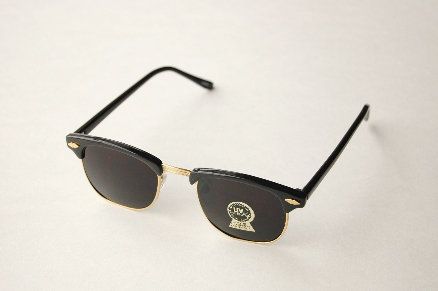 Men's black and gold vintage clubmaster sunglasses M71a