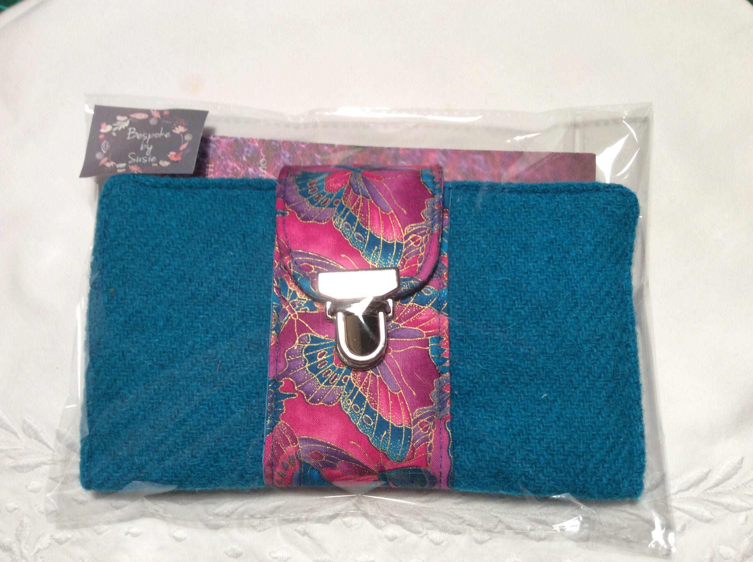 Bright Turquoise and Pink Harris Tweed Butterfly Large Purse