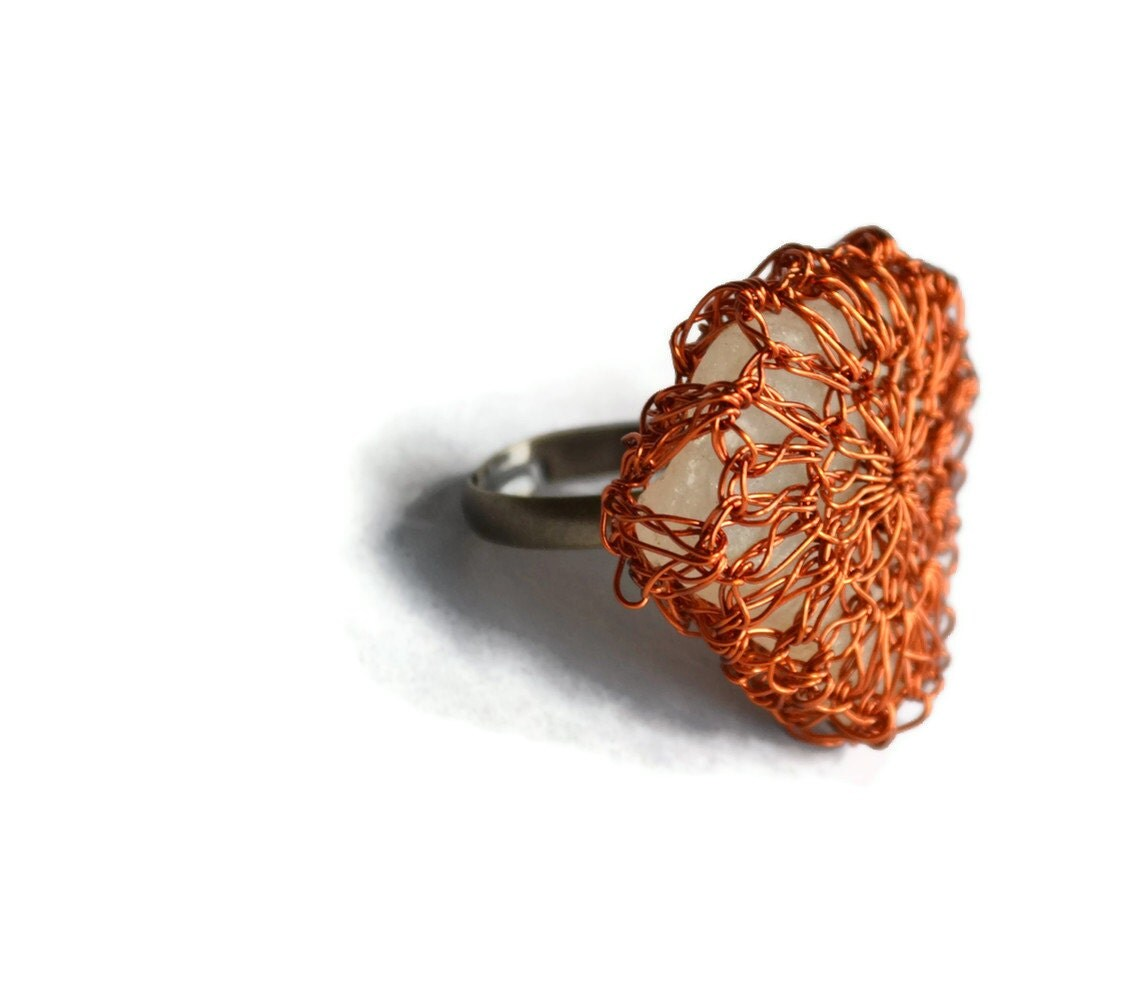 Hand Crochet Wire Amber and Frosty Beach Glass Adjustable Ring by PrayerMonkey - PrayerMonkey