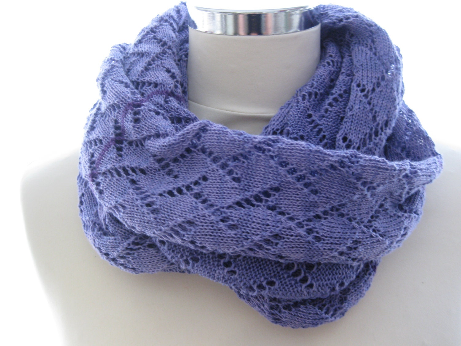 Knitting Pattern Lace Infinity Scarf : Items similar to Infinity scarf machine knitted in lace ...
