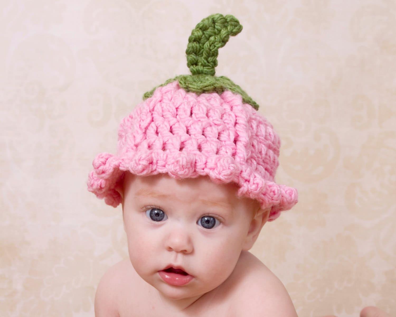 Crochet Pattern For Baby Flower Headband : Baby Flower Hat Tulip Summer Spring Toboggan by TheTwistedK