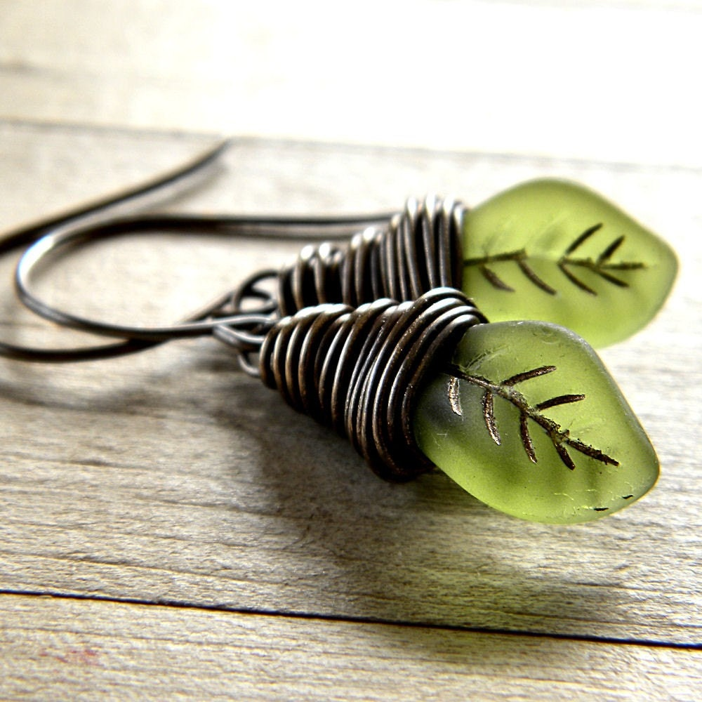 Leaf Earrings, Spring Green Leaves Antiqued Brass Dangle Wire Wrapped Earrings  - Gnome - GlitzGlitter