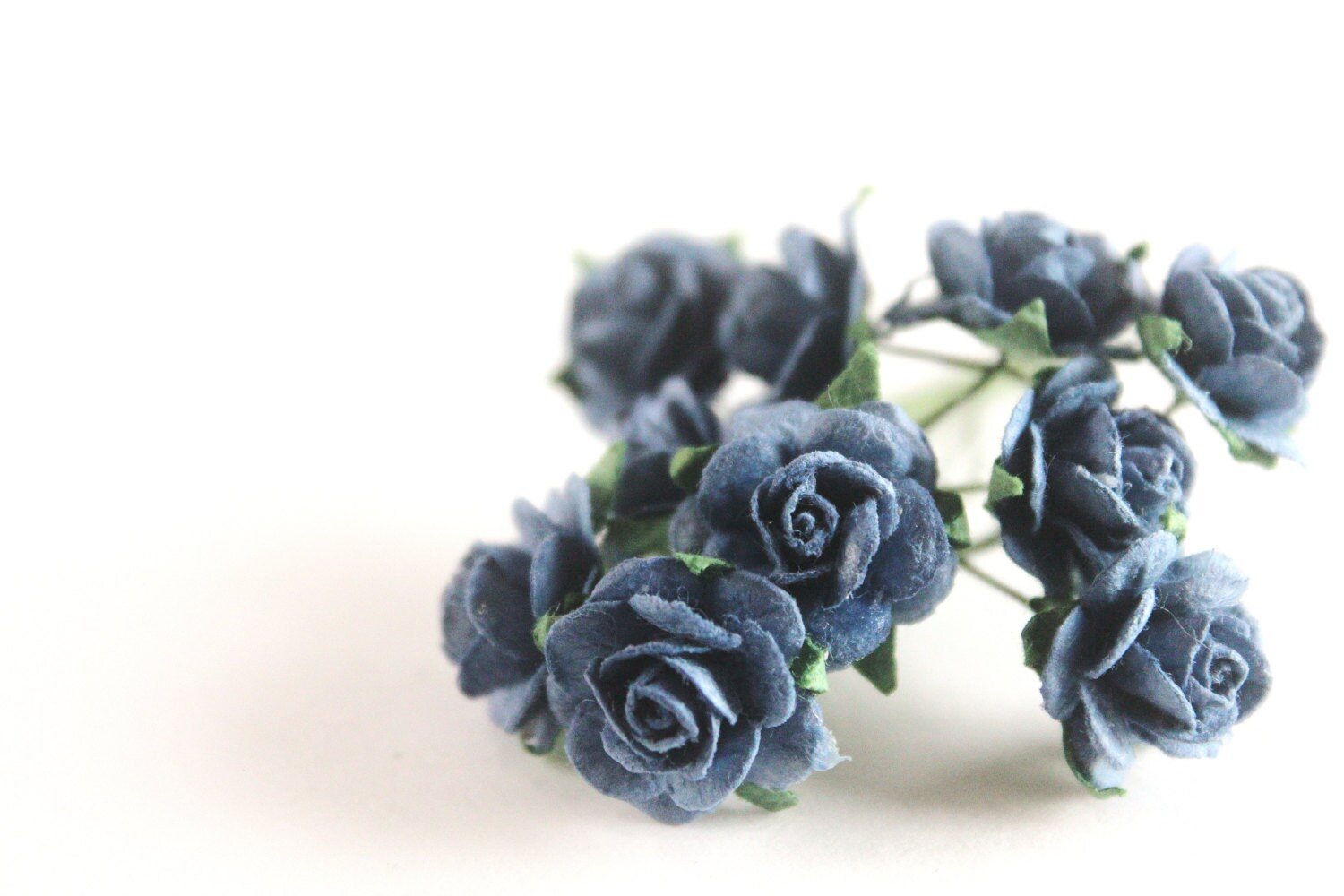 "1/2"" Small Indigo Paper Roses (10 blooms) - mooseart"