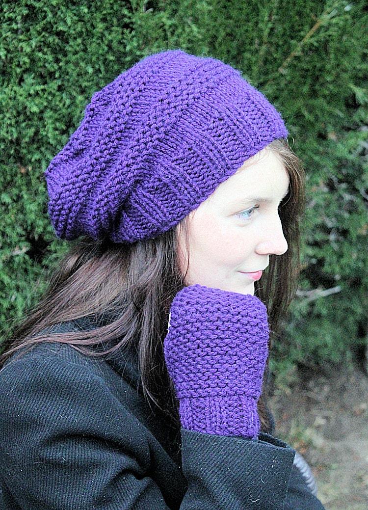 Chunky Knit Fingerless Gloves Pattern : Slouch hat Fingerless Gloves Chunky knit Easy by JohshiDesigns